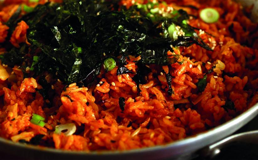 Sabroso arroz frito con Kimchi